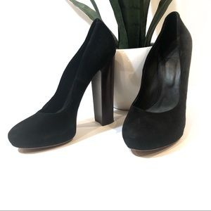 Brian Atwood black Petisca stacked heel size 9